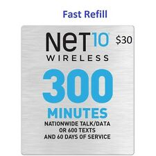Net10 $30 Refill -- 300 Minutes for 60 Days, Applied To Phone Directly