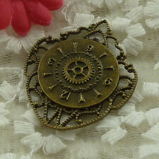 free ship 30 pieces bronze plated clock pendant 43x36mm #3328