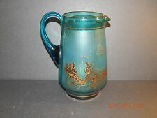 VINTAGE TURQUOISE GLASS JUG WITH GOLD CARRIAGES COACHES & HORSES LEMONADE SQUASH