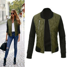 Retro Womens Long Sleeves Biker Coat Baseball Overcoat Bomber Jacket Top Outwear