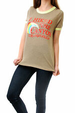Wildfox Women's Ringer T-shirt I Hiked The Canyon Agave Yellow Size S BCF64