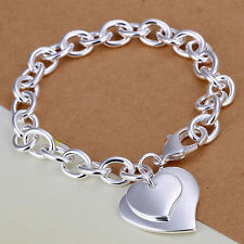 Girls Hot Heart Charm 925 Sterling Silver Plated Chain Bracelet Bangle