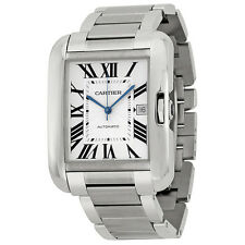 Cartier Tank Anglaise Silver Dial Stainless Steel Mens Watch W5310008