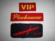 Collection Of 3 US Navy Patches: VIP + PLANKOWNER + X 10