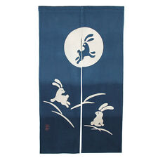 "Japanese Noren 33.5"" x 59""  Indigo 2-Panel Curtain Doorway ""USAGI""Rabbit/S3065"