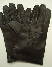Mens Finest 100% Cashmere Lined Genuine Leather Gloves, L, Brown