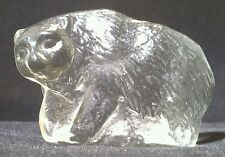 1960's Lindshammar, Scandinavian  Glass Polar Bear Paperweight / Suncatcher