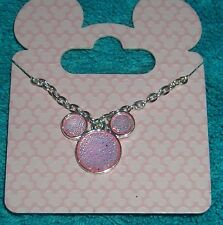 DISNEY MICKEY MOUSE EARS PINK SILVER TONE PENDANT NECKLACE