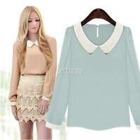 Ladies Women Peter Pan Collar Top Blouse Long Sleeve Tee Shirts Elegant S,M,L,XL