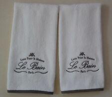 Kassatex Paris French Country Le Bain Fingertip Towels 2 Piece Set WHITE+GRAY