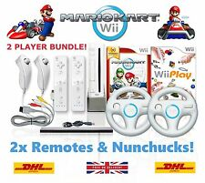 Wii Console MARIO KART 2 Player Bundle, 2 Remotes 2 Nunchucks 10 GAMES + GIFT!
