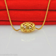 FINE Pure 24K Yellow Gold Pendant /3D Craft Heart Tube Pendant