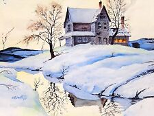 Winter Landscape Watercolor Painting Snow Signed C R Smith Mid Century