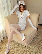 White Nurse Uniform Suit w/Glove Women Costume for Cosplay & Sexy Lingerie Party