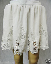 **ANGELA BABY** BNWT White Lace Skirt 8 S Embroidered Pleated Skater Chiffon