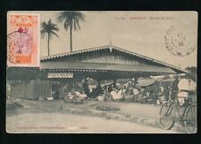 FRENCH GUINEA 1916 PPC TIMBO MARKET BOUCHERIE...RED CROSS SURCHARGE FRANKING