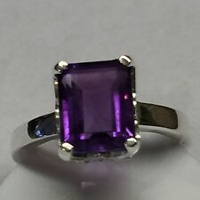 Natural Emerald Cut 4ct Purple Amethyst 925 Solid Sterling Silver Ring sz 7