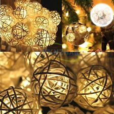 Newly Warm White 20LED Rattan Ball String Lights Xmas Wedding Decor Party Lamp