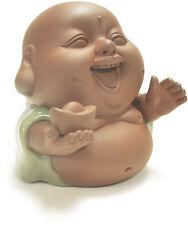 Laughing Buddha w/Gold Ingot Happy Rare Small Cute Monk Decor Statue Clay