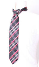 PROFUOMO MADE IN ITALY GREY & RED CHECK MEN'S SILK TIE