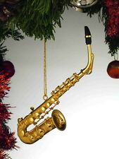 "GOLD BRASS ALTO SAXOPHONE 4.5"" MUSICAL INSTRUMENT CHRISTMAS ORNAMENT GIFT BOXED"