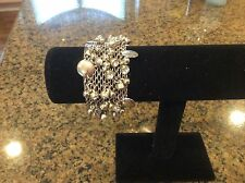 Macy's Silver Toned Beaded and Blinged Bracelet