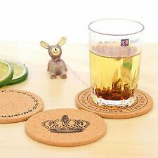 1 X Hot Cork Round Cup Anti Slip Mat Portable Functional Coaster Home Kitchen