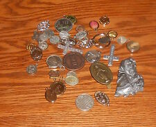 Vintage Lot of 39 Religious Pendants Medals Catholic Cross
