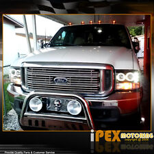 99-04 Ford F250 F350 Super-Duty Halo Projector LED Black Headlights+Signal Light