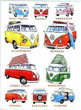 VW Campervans Volkswagen Motoring Art  blank Greeting Card Newquay Glanstonbury