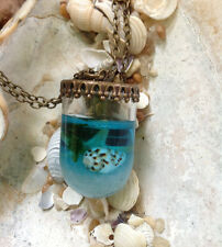 Terrarium Mermaid Tears Miniature Glass Necklace Pendant with Shells StarFish