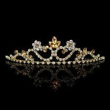 Gold Blumenmädchen Kinder Hochzeit Haarschmuck Haarreif Krone Diademe Tiara