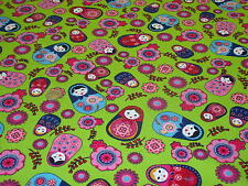 PRINTED COTTON RUSSIAN DOLLS-GREEN-DRESS/CRAFT FABRIC -FREE P+P