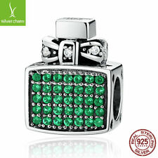 Authentic 925 Sterling Silver Green Perfume Bottle Bow Knot Bead Charm Christmas