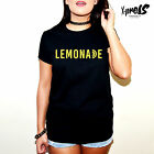 LEMONADE SLOGAN PRINT TSHIRT BEYONCE JAYZ MUSIC WOMEN LEMON GIRLS TEE BLACK