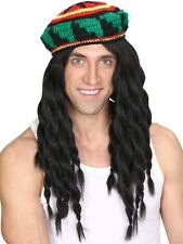 Adult Mens Jamaican Rasta Hat & Dreadlocks Wig Bob Marley Caribbean Fancy Dress