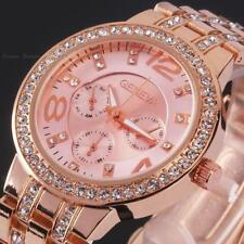 Womens Mens Geneva Bling Stainless Steel Quartz Rhinestone Crystal Wrist Watch
