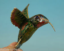 chinese Collect Cloisonne Handmade Painting Flying Humming Bird Statue Pendant