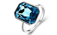 DIAMOND SHINE cristallo argento e Inchiostro Blu Scuro Regolabile Anello FR132