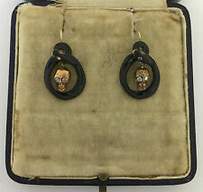 An Unusual Pair Of Memento Mori Skull & Snake Diamond & Enamel Earrings Cr 1800s
