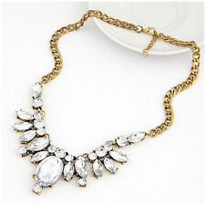Hot Fashion Luxury Clear Crystal Leaf Bronze Metal Choker Statement Necklace