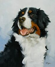 Original Oil painting - portrait of a bernese mountain dog  - by j payne