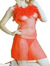 Red Sheer Short Slip & Thong ONE SIZE Feather Trim See Through Nighty Nightdress