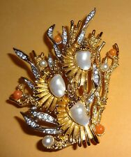 BOUCHER FAUX PEARL AND SAPPHIRE BROOCH