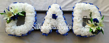 Artificial Silk Funeral Flower 3Letter Dad Mum Name Tribute Fathers Day Memorial