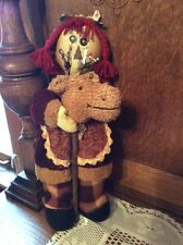 """Primitive Country Rustic Holiday RAGGEDY ANNIE 13"""" with Stick Horse Winter Decor"""