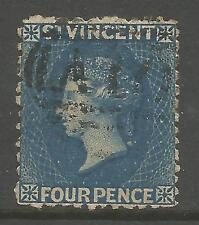 ST VINCENT. 1881. 4d Bleu,Filigrane étoile Perf 11 pour 12-1/2. SG: 38. Fin
