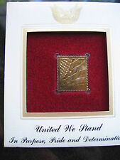 UNITED WE STAND FLAG replica FDI 22kt Gold Golden Cover Stamp FDC 2001