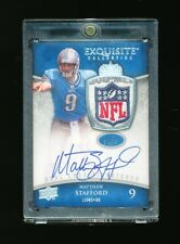 MATTHEW STAFFORD & MARK SANCHEZ 2009 EXQUISITE DUAL NFL LOGO PATCH AUTO RC # 1/1