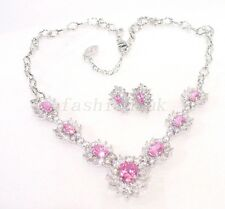 New White Gold Plated Pink Cubic Zirconia CZ Wedding Stud Earrings Necklace Set